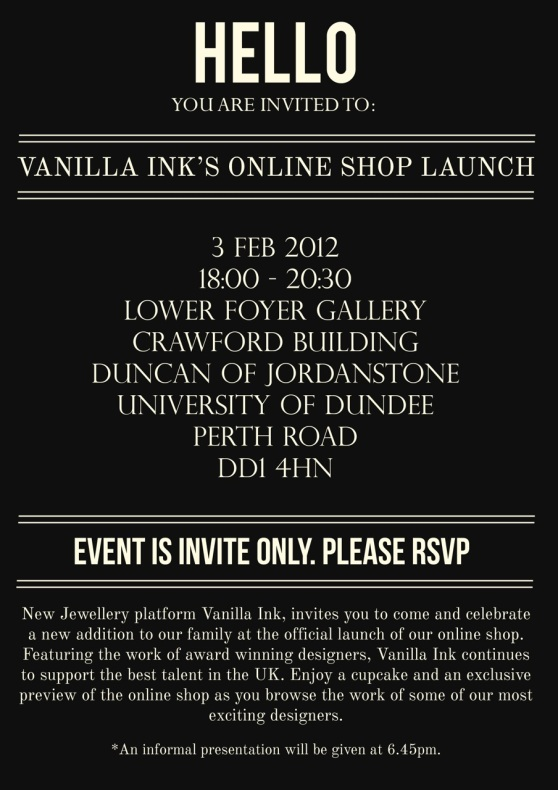 Vanilla Ink Online Shop Launch